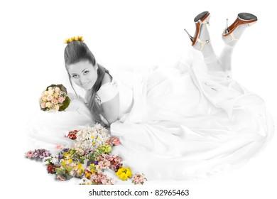 vintage portrait of beautiful bride.