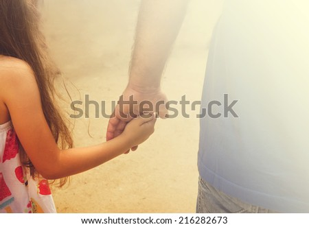Vintage Portrait Father Daughter Holding Hand Stock Photo Edit Now