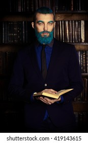 Vintage portrait of a handsome man with blue beard.