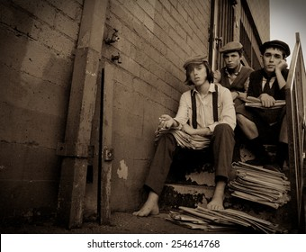 Vintage Portrait of Newspaper Boys