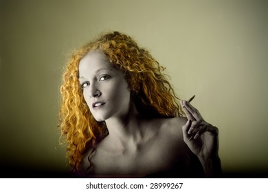 vintage portrait of woman smoking