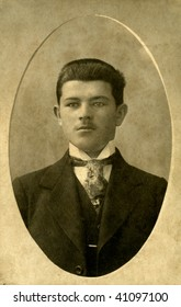 Vintage portrait of a young man. The shot was taken around 1914 year.