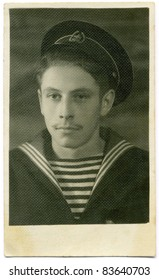 Vintage portrait of a young man. The shot was taken around 1943 year.
