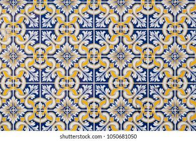 Vintage portuguese Azulejo ceramic tilework in Tavira. Algarve, Portugal