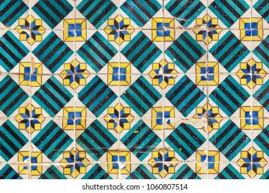 Vintage portuguese Azulejo ceramic tilework in Lisbon. Portugal