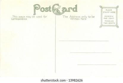 Vintage Post Card Back