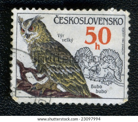 Vintage Post Stamp With Owl On Branch