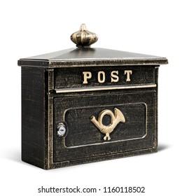 Vintage postal box closed, isolated on white background