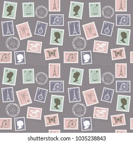 Vintage postal pattern background with different retro stamps.