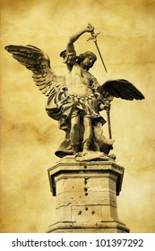 Vintage postcard (immitation) with Saint Michael in Rome