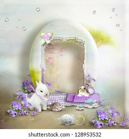 Vintage postcard, on a gentle background of eggs and cute rabbits