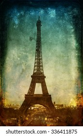 Vintage postcard style image of the Eiffel Tower in Paris, France