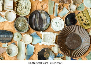 Vintage Pottery with texture background of ancient pottery shard