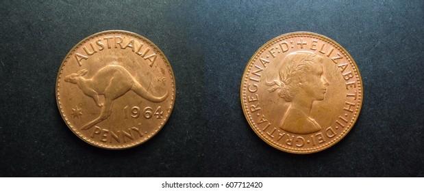 Vintage pre-decimal coins 1964 Copper Australian Penny.