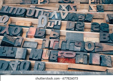 Vintage Printers Type in a Tray at a Flea Market