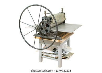 vintage printing press isolated on white background