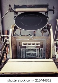 Vintage Printing press machine close up