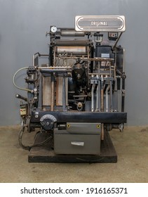 Vintage printing press, old printing machine