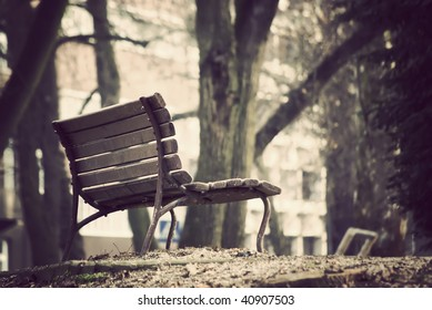 vintage processed bench in the park. Ribnjak, Croatia