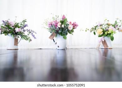 Vintage Props at a wedding rustic floral arrangements