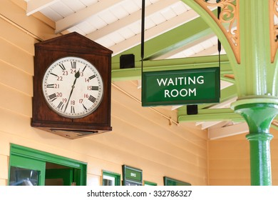 vintage public amenity waiting room and large antique clock