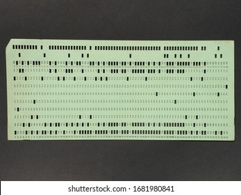 vintage punched card for computer data storage and programming