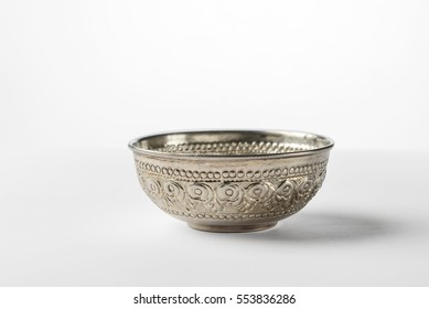 Vintage pure silver bowl on white background.