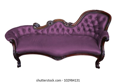 Vintage Purple Armchair On White With Clipping Path