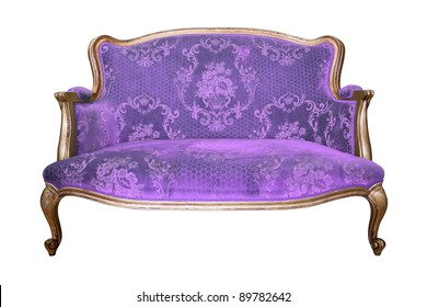 vintage purple luxury armchair isolated with clipping path
