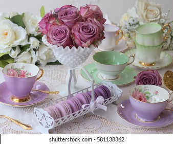 Vintage Purple Tea cup with macaroons and roses with vintage green teacup with gold cutlery flatware - high tea party