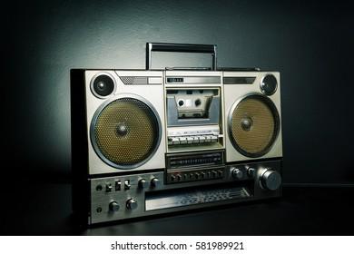 Vintage radio boombox on dark background
