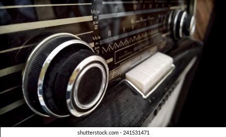 Vintage Radio Close-up Sketch Isolated on black