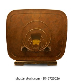 Vintage radio from the forties. Isolated on a white background