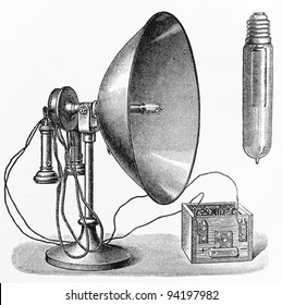Vintage radio receiving station from the early 1900's period - Picture from Meyers Lexicon books collection (written in German language ) published in 1908 , Germany.