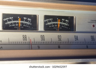 Vintage radio showing VU meters in action.