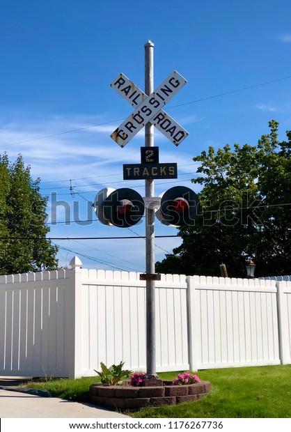 Vintage Railroad Crossing 2 Tracks Sign Stock Photo (Edit