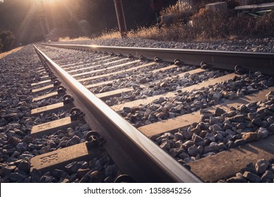 vintage railroad tracks, Steel railway for trains