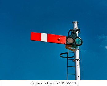 Vintage Railway Semaphore Signal showing STOP