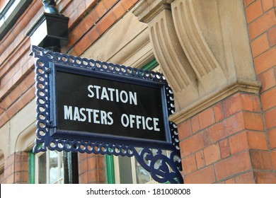 A Vintage Railway Station Masters Office Sign.