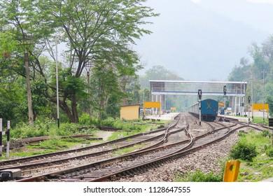Vintage railway station mountain background at Sikkim India