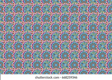 Vintage raster floral seamless pattern in colors.