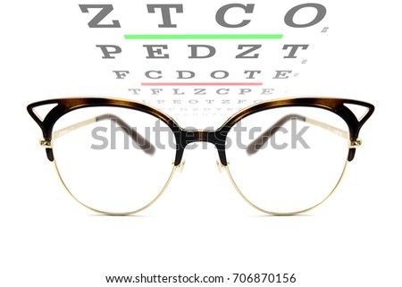 Vintage Reading Eyeglasses Vision Acuity Chart Stock Photo Edit Now