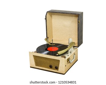 Vintage record player box with vinyl album isolated on white.