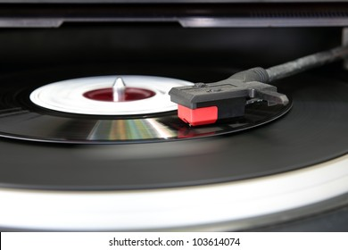 Vintage record player, close up of a Vinyl record