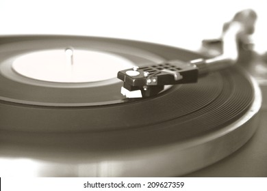 Vintage record player with noise and grain for old look of the photo