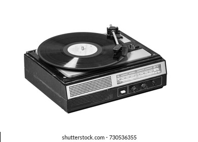 Vintage record player with radio tuner isolated on white background