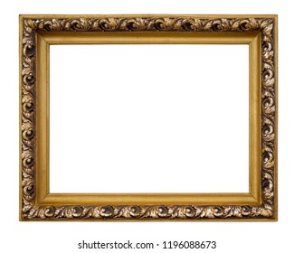 Vintage rectangle golden frame on a white background, isolated