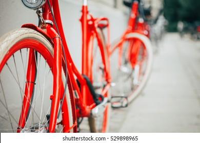 Vintage red bicycle in Copenhagen, Denmark