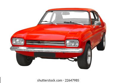 vintage red British muscle car from the 70s isolated on white background