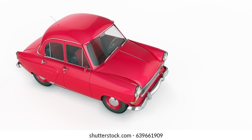 Vintage red car in 70s style isolated on a white background. 3d rendering
